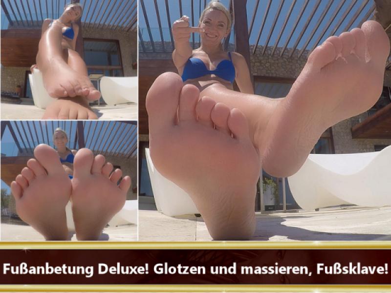 Fußanbetung Deluxe! Glotzen und massieren, Fußsklave!