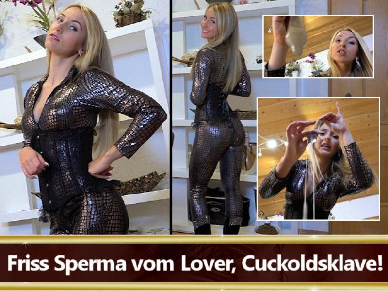 Friss Sperma vom Lover, Cuckoldsklave!