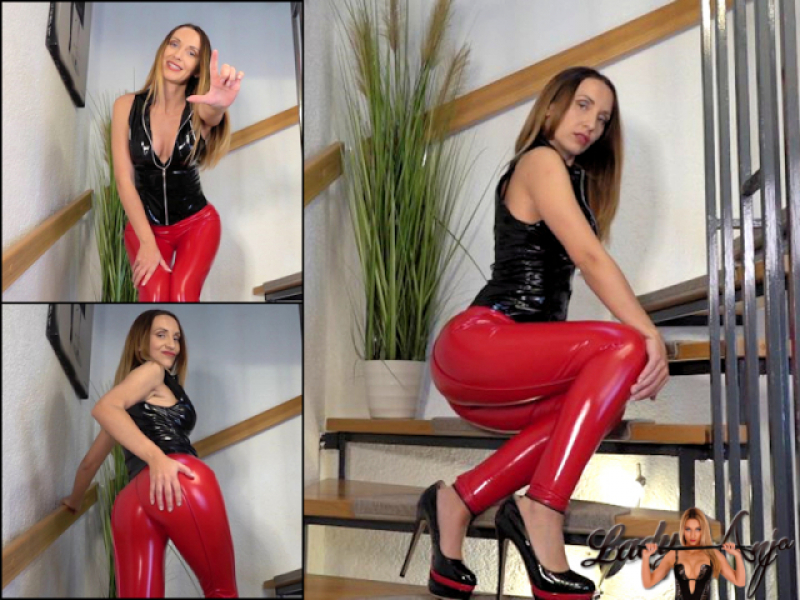 Red shiny tight Leggings Brainfuck