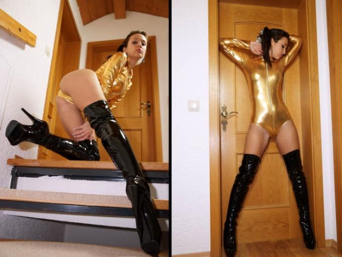 Golden Bodysuit and Overknees