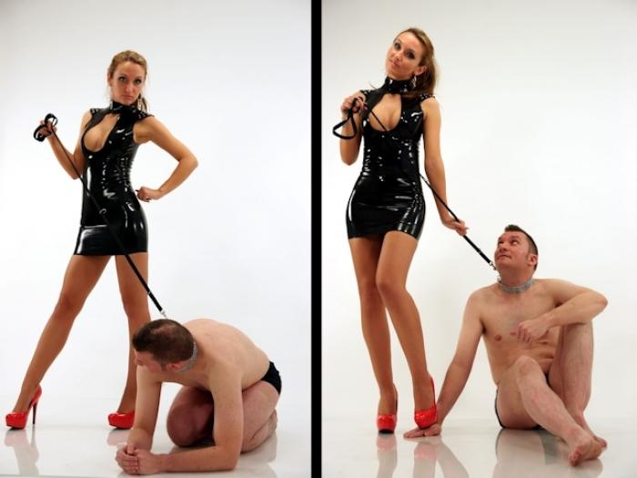Sklave an der Leine - und ich im sexy Latexkleid