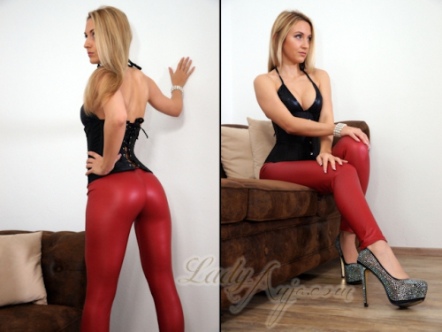 Rote Wetlook Leggings