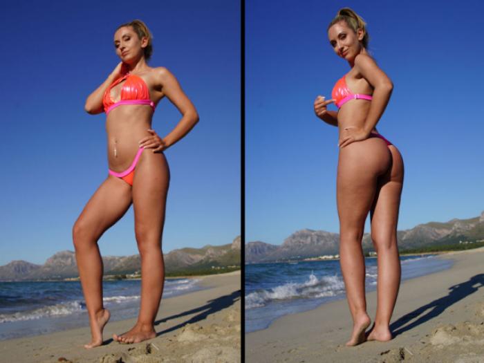 Die Lady im Bikini am Strand