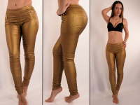Wetlook Jeans Gold schimmernd